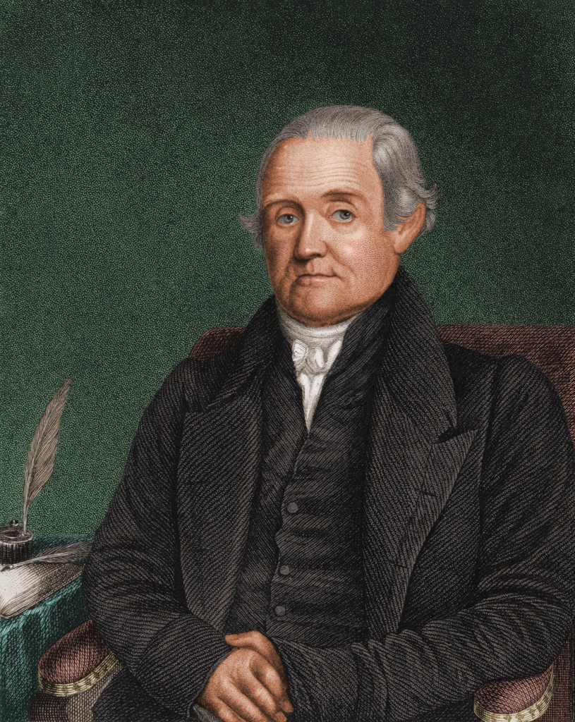 Engraved portrait of American lexicographer, translator, and author Noah Webster (1758 - 1843), early 1800s. In 1806, Webster published 'A Compendious Dictionary of the English Language' which was followed, in 1826, by 'An American Dictionary of the English Language--many of the differences between American English and British English originated with these works. (Photo by Stock Montage/Getty Images)